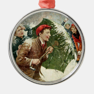 Vintage Snowballs & Umbrella Christmas Ornament