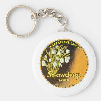 Vintage Snowdrop Cake Label Basic Round Button Keychain