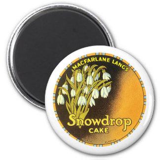Vintage Snowdrop Cake Label Magnet