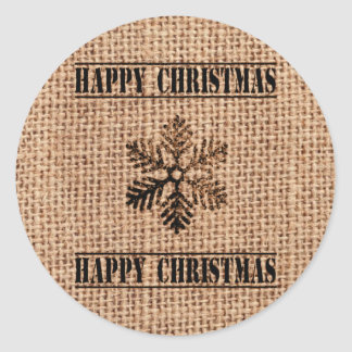 Vintage Snowflake And Jute Happy Christmas Classic Round Sticker