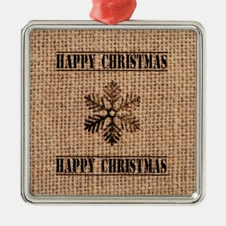 Vintage Snowflake And Jute Happy Christmas Christmas Tree Ornaments