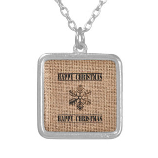 Vintage Snowflake Happy Christmas Silver Plated Necklace