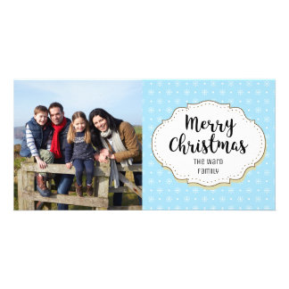 Vintage Snowflakes Christmas Picture Photo Card