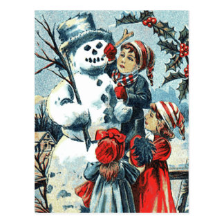 Vintage Snowman and Children Postcard