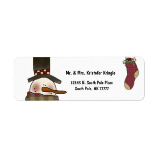Vintage Snowman And Christmas Stocking Label