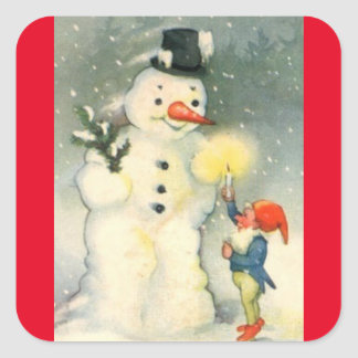 Vintage Snowman And Elf Square Sticker