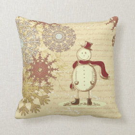 Vintage snowman and snowflakes pillow