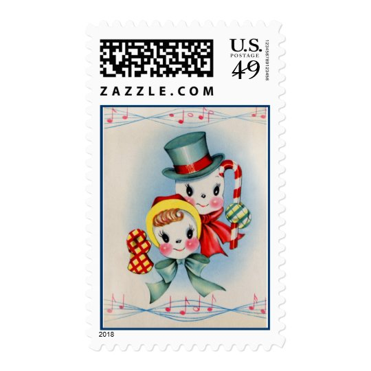Vintage Snowman and Snowlady Postage