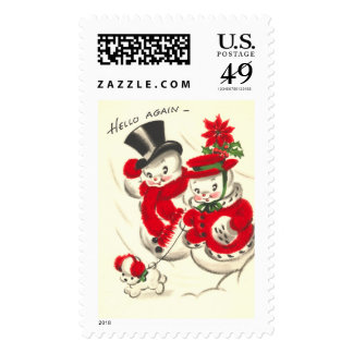 Vintage Snowman and Snowwoman Large Postage