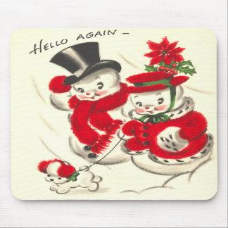 Vintage Snowman and Snowwoman Mousepad