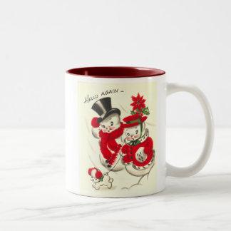Vintage Snowman and Snowwoman Mug