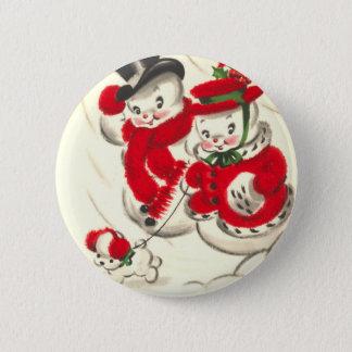 Vintage Snowman and Snowwoman Round Button