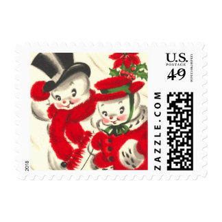 Vintage Snowman and Snowwoman Small Postage