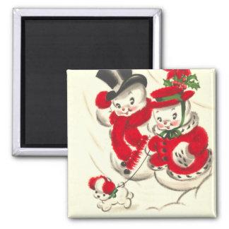 Vintage Snowman and Snowwoman Square Magnet