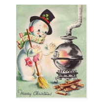 Vintage Snowman By The Wood Stove Postcard