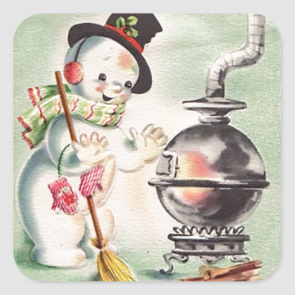 Vintage Snowman By The Wood Stove Square Sticker