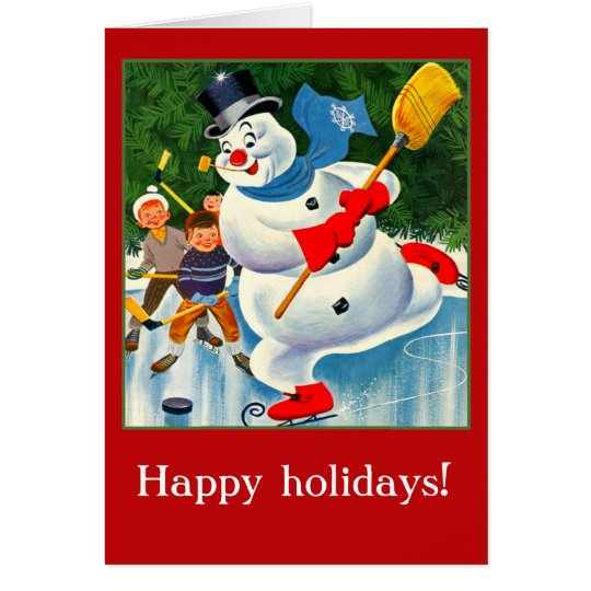Vintage Snowman Card for Holidays