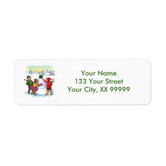 Vintage Snowman Christmas Address Labels