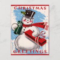 Vintage Snowman Christmas Greetings Postcard
