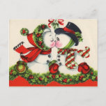 """Vintage Snowman Christmas Postcard<br><div class=""""desc"""">Beautiful Victorian Christmas postcards! Look for matching postage! All images lovingly restored for best printing quality! Easy to customize!</div>"""
