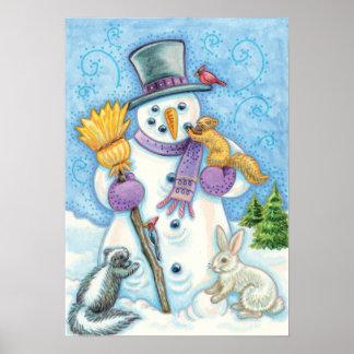 Vintage Snowman Christmas Poster
