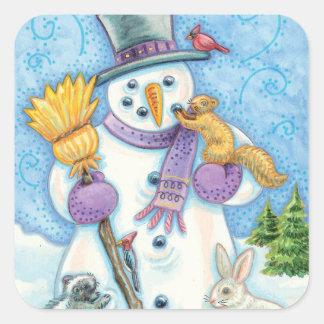 Vintage Snowman Christmas Stickers