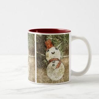 Vintage Snowman Christmas Tree Light Two-Tone Coffee Mug