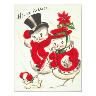 Vintage Snowman Family Flat Card
