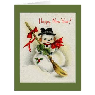 Vintage Snowman Green Happy New Year Big Card Big Greeting Card