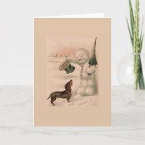 Vintage - Snowman Greets a Dachshund, Holiday Card