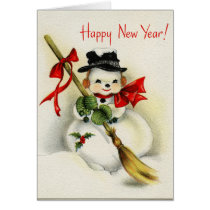 Vintage Snowman Happy New Year Greeting Card