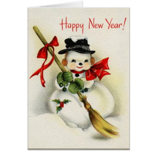 Vintage Snowman Happy New Year Note Card