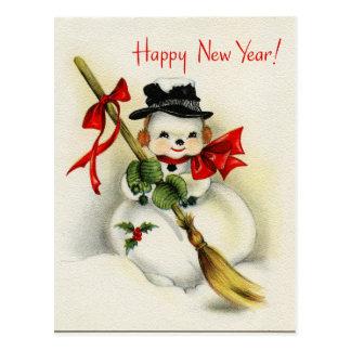 Vintage Snowman Happy New Year Postcard