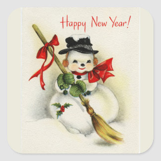 Vintage Snowman Happy New Year Square Sticker