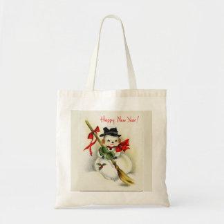 Vintage Snowman Happy New Year Tote Bag