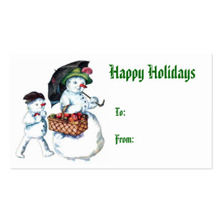 Vintage Snowman Holiday Gift Tag Business Card