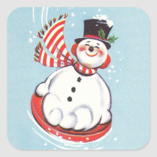 Vintage Snowman on Snow Disc Square Sticker