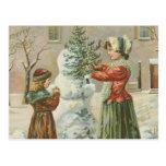 Vintage Snowman Post Card