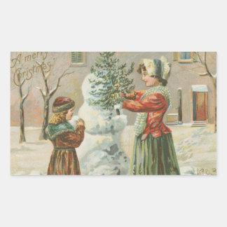 Vintage Snowman Rectangular Sticker