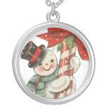 Vintage Snowman Round Pendant Necklace