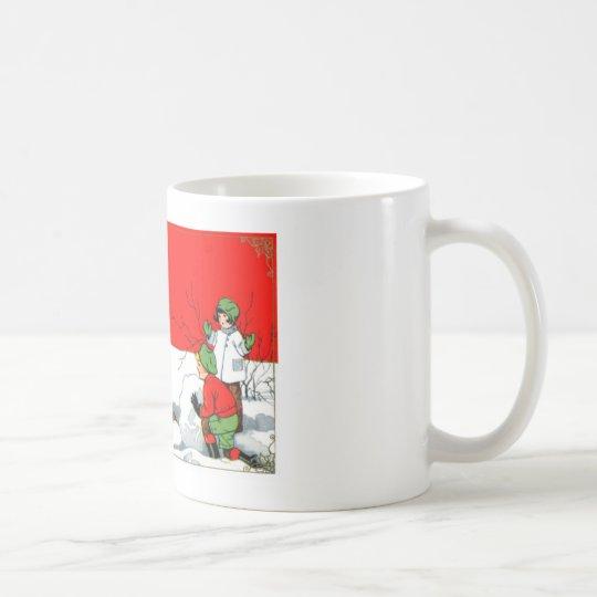 vintage snowman scene coffee mug