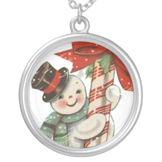 Vintage Snowman Silver Plated Necklace