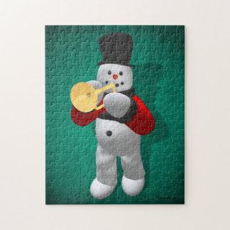 Vintage Snowman Trumpeter Jigsaw Puzzle