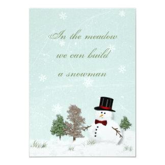 Vintage Snowman Winter Wedding Invitation