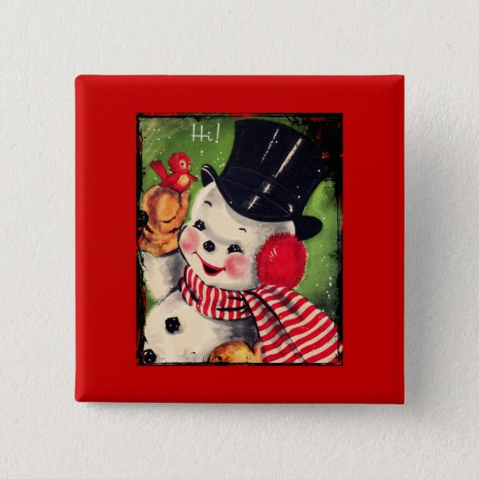 Vintage Snowman with a Red Bird Button