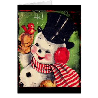 Vintage Snowman with a Red Bird Card
