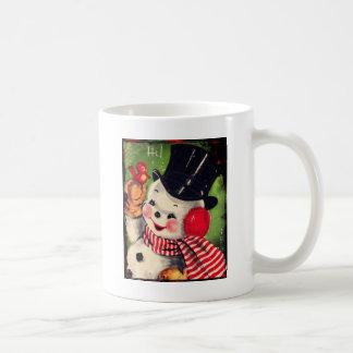 Vintage Snowman with a Red Bird Coffee Mug