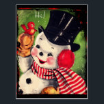 """Vintage Snowman with a Red Bird Postcard<br><div class=""""desc"""">Retro Snowman in jolly hat saying """"Hi!"""" to a little red bird.</div>"""