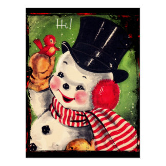 Vintage Snowman with a Red Bird Postcard