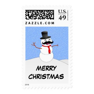 Vintage Snowman With Mustache Postage Stamps